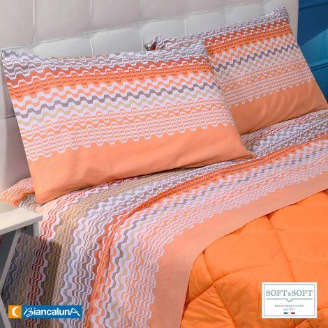 RENO completo lenzuola MATRIMONIALE puro coto Biancaluna Arancio
