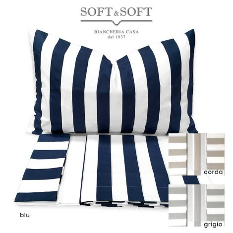 RIVER Complete Sheets / Bedspread striped for three-quarter beds in Cotton