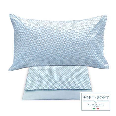 ROMBETTO completo copripiumino singolo in puro cotone Azzurro