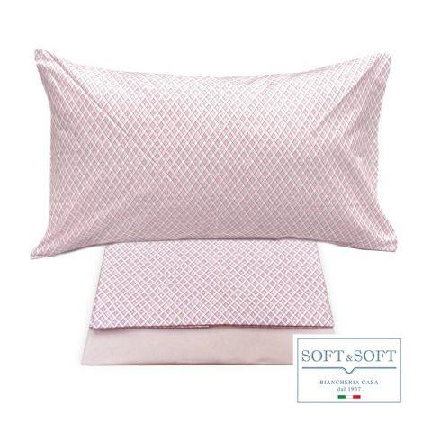 ROMBETTO completo copripiumino singolo in puro cotone Rosa