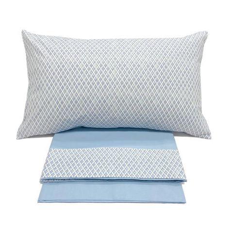 ROMBETTO completo lenzuola SINGOLO cotone balza stampata-Azzurro