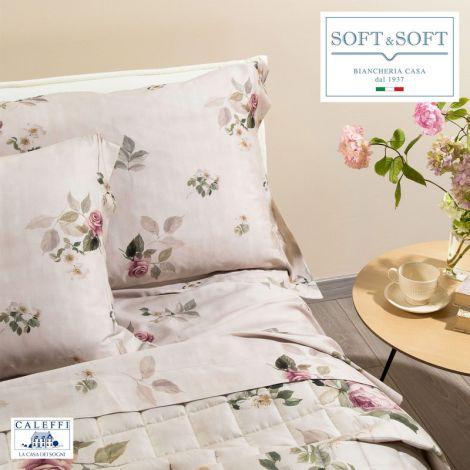 ROSE E FIORI completo lenzuola MATRIMONIALE raso di cotone CALEFFI Naturale