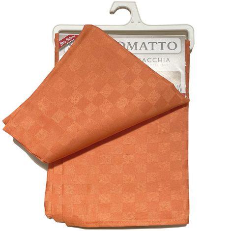 SCACCO MATTO Tovaglia  quadretti per 6 cm 140x180 Antimacchia-Arancio