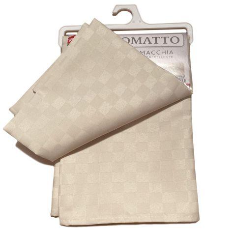 SCACCO MATTO Tovaglia  quadretti per 6 cm 140x180 Antimacchia-Beige