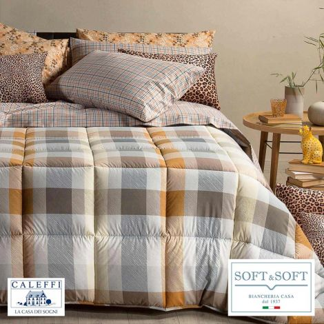 SCOTLAND trapunta invernale per letto SINGOLO in cotone CALEFFI Cuoio