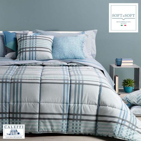 SIENNA winter quilt for SINGLE bed cotton fibre CALEFFI Blue