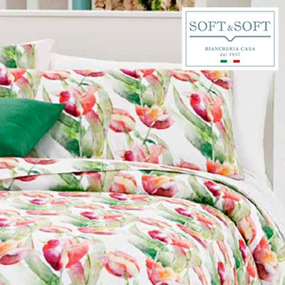 SIX 08 satin flounce sheets set with 4 GFFERRARI pillowcases