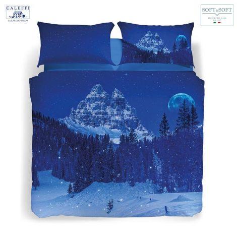 SNOW IN THE BLUE NIGHT completo copripiumino MATRIMONIALE stampa digitale CALEFFI
