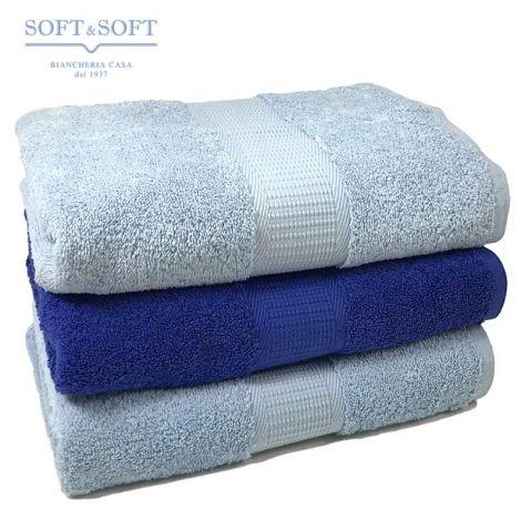Asciugamani Casa set 3 pezzi azzurro misura da viso 500 gr.