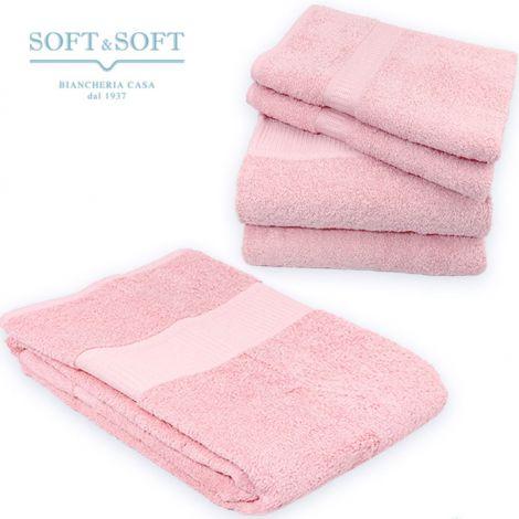 SOFT Top Set Asciugamani 5 Pezzi 500 gr/m² (2ospiti+2viso+1telo) ROSA
