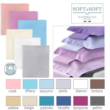 SOFT&SOFT Completo Lenzuola letto PIAZZA E MEZZA Tinta Unita in Puro Cotone