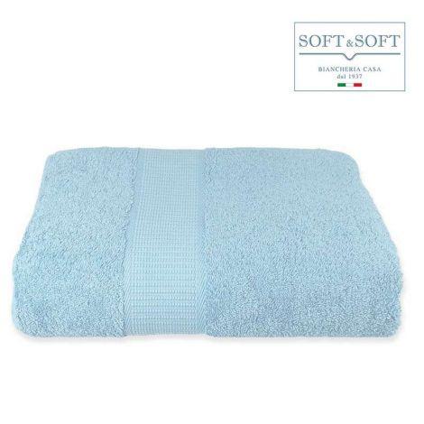 SOFT Top Telo Bagno in Spugna di puro Cotone 500 gr/m²-Cielo