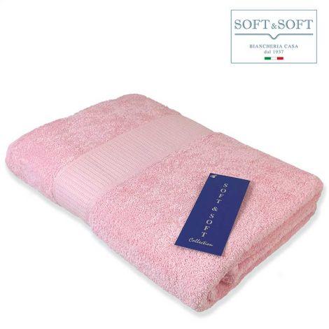 SOFT Top Telo Bagno in Spugna di puro Cotone 500 gr/m²-Rosa
