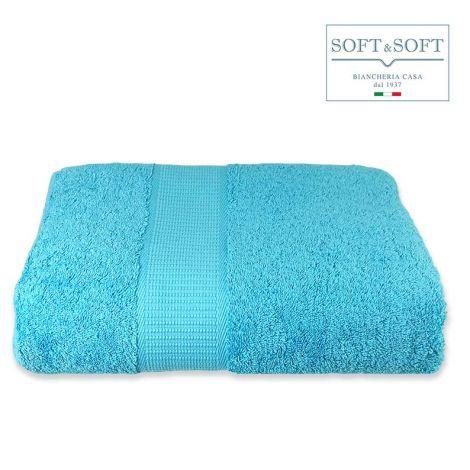 SOFT Top Telo Bagno in Spugna di puro Cotone 500 gr/m²-Turchese