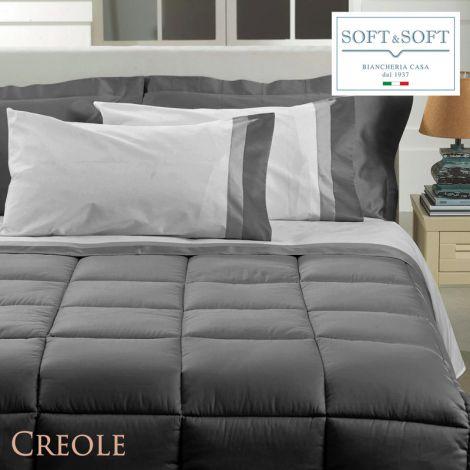 SPAGNA completo lenzuola matrimoniale doppio bordo in Raso di Cotone by Creole-Bianco
