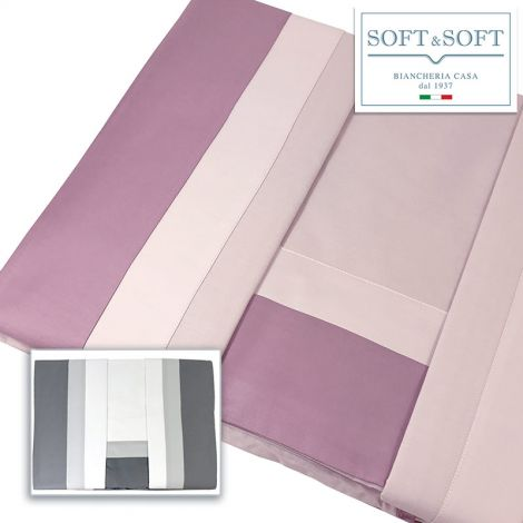 Spagna double border double bed sheet set in Cotton Satin by Creole