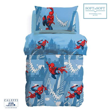 SPIDER-MAN CITTA' Quilt for Marvel Square and Half Bed CALEFFI