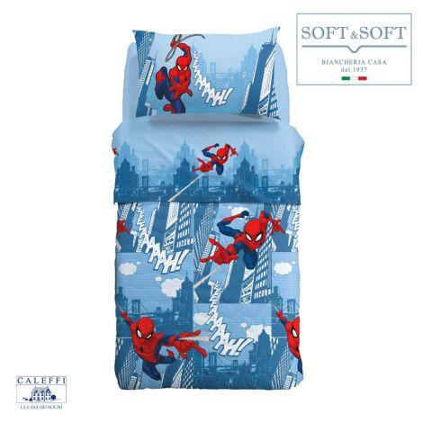 SPIDER-MAN CITTA' Quilt three quarter bed 215x265 Disney CALEFFI