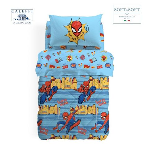 SPIDER-MAN NEW YORK cotton winter quilt for SINGLE size Marvel CALEFFI