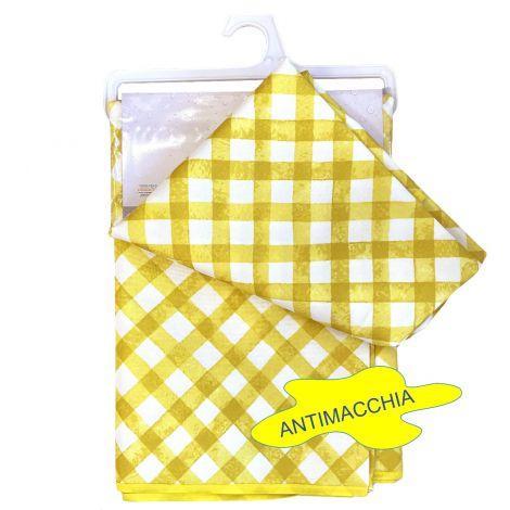 Splash Tovaglia Idrorepellente rettangolare x 6 cm 140x180 quadri bianco giallo