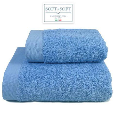 STAR 600 set 2 asciugamani viso e ospite 600 gr/m²-Azzurro