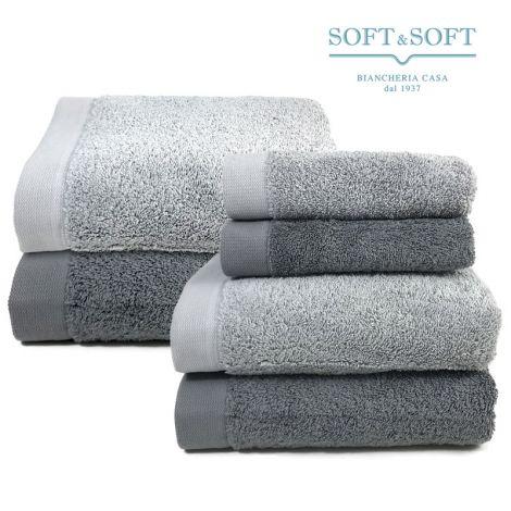 STAR 600 set asciugamani bagno 6 pezzi spugna di puro cotone grigio
