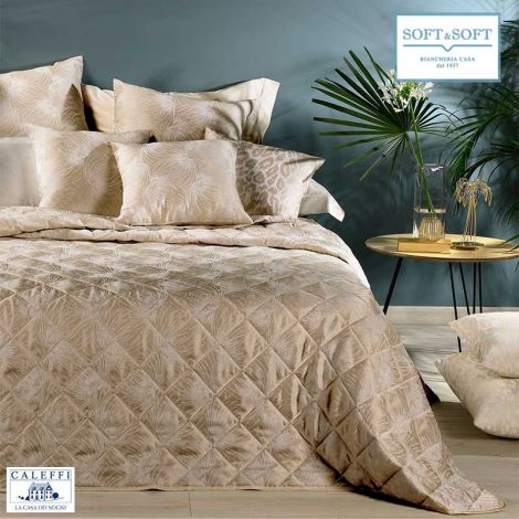 STELLA quilted bedspread DOUBLE size 260 × 270 in CALEFFI jacquard satin