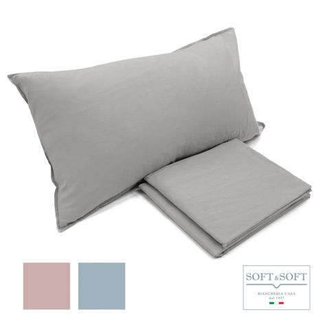 STONE WASHED double duvet cover set in pure cotton NO IRON