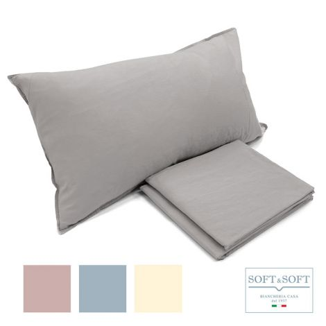 STONE WASHED complete SINGLE sheets in pure cotton NO IRON