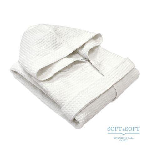 STONES Unisex Bathrobe in Pure Cotton Honeycomb Fabric