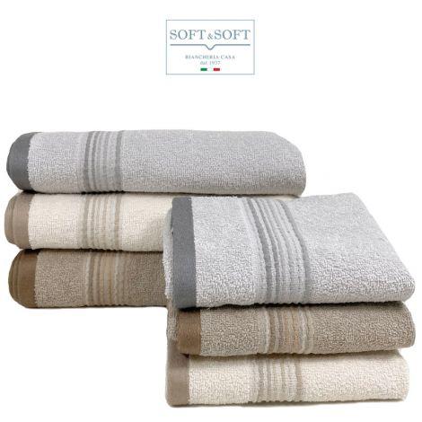 STRIPE coppia asciugamani 1+1 in morbida spugna di puro cotone