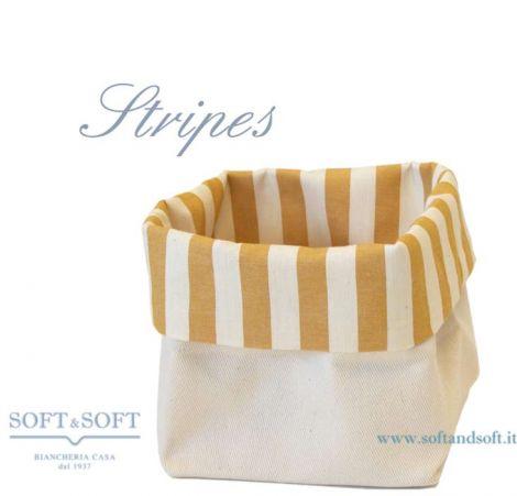 Cestino Porta Pane in puro cotone Made in Italy giallo Stripes
