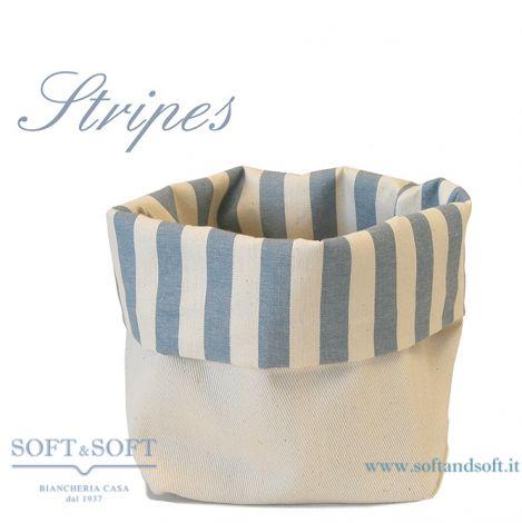 Cestino Porta Pane da tavola in puro cotone Made in Italy Stripes Azzurro