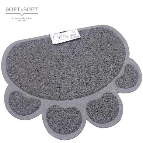 tappetino in gomma agugliata di colore grigio medio a forma di orma zampa