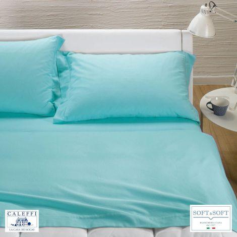 TINTA UNITA completo lenzuola per letto matrimoniale Flanella CALEFFI-Anice