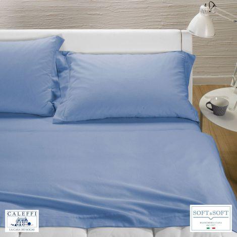 TINTA UNITA completo lenzuola per letto matrimoniale Flanella CALEFFI-Azzurro