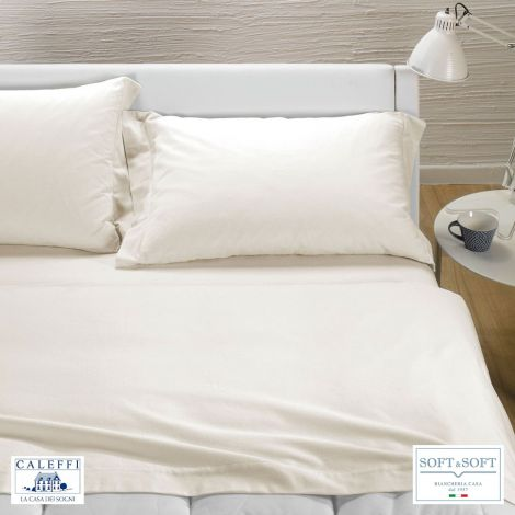 TINTA UNITA completo lenzuola per letto matrimoniale Flanella CALEFFI-Panna