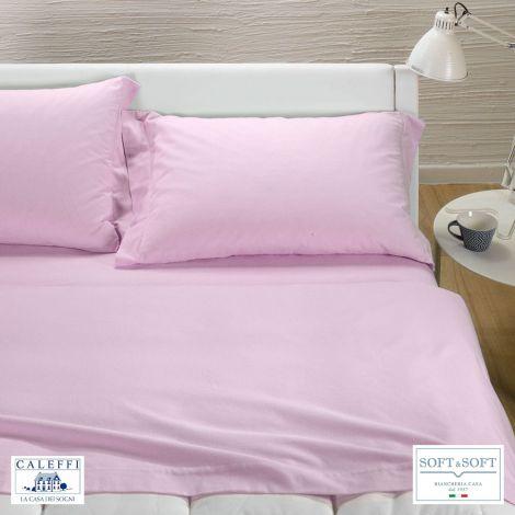 TINTA UNITA completo lenzuola per letto matrimoniale Flanella CALEFFI-Rosa