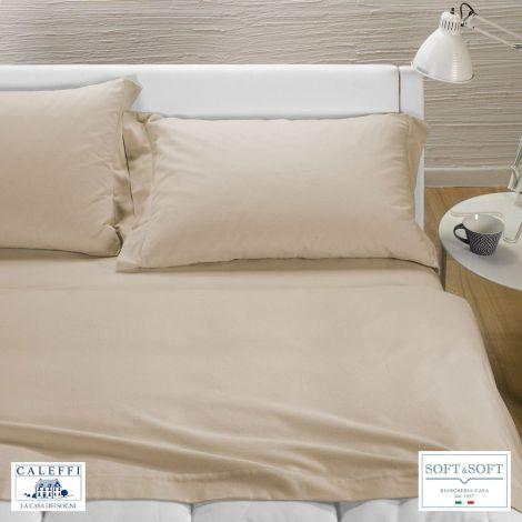 TINTA UNITA completo lenzuola per letto matrimoniale Flanella CALEFFI-Sabbia