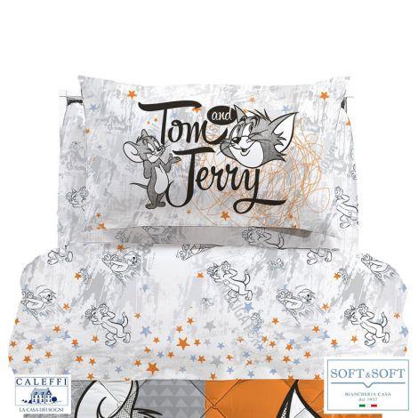 TOM&JERRY completo lenzuola misura SINGOLO in cotone CALEFFI