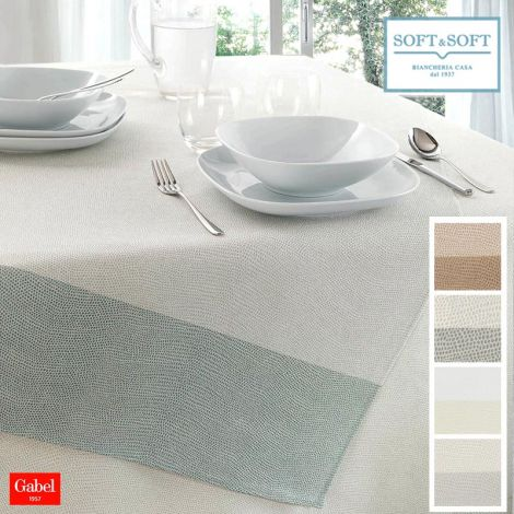 CHROMO tablecloth for 12 people table cm 150x270 pure cotton GABEL
