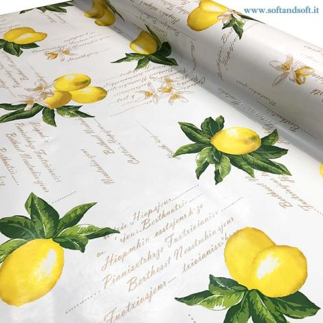 Plastic coated fabric for tablecloth H cm 140 - Sicily Lemon