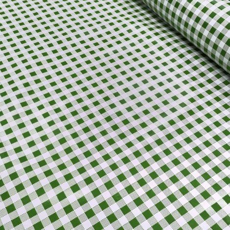Laminated waxed tablecloth 120 cm high with green and white squares