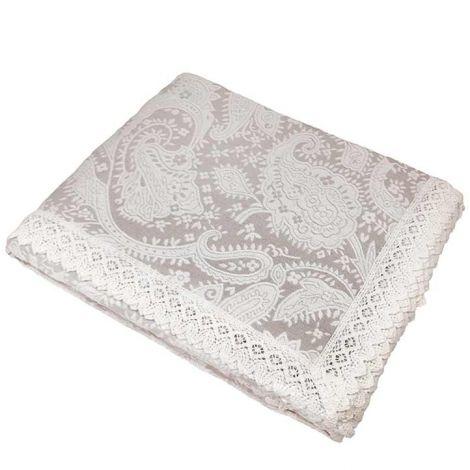 UNCINETTO copriletto matrimoniale in cotone bianco cm 260x260-Ecrù
