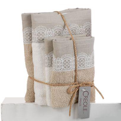 VIRNA Set Asciugamani 2+2 in Spugna di Puro Cotone Balza Pizzo CREOLE-Corda