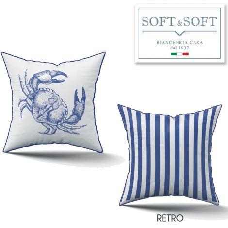 Cuscino a fondo bianco con bordino blu e stampato da un lato un polipo in blu, dall'altro righe bianco blu