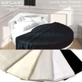 Letto Rotondo Bianco.Rotondo Raso Lenzuola Da Letto Rotondo Con 4 Federe In Raso Cotone