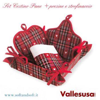 Cestino Pane Set Presine + Asciugapiatti Puro Cotone Vallesusa Rosso