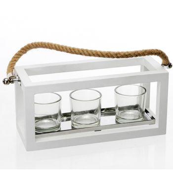 Lanterna legno Bianco Laccato cm 36x12x14h per 3 candele
