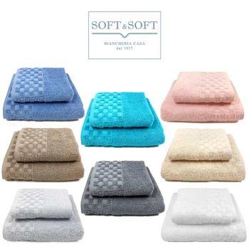 Check Soft&Soft Coppia Asciugamani 1+1 500 gr/m²